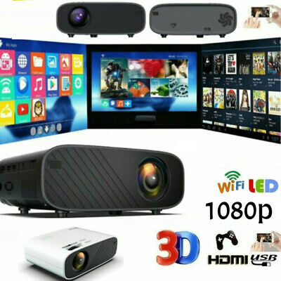 LED Smart Home Theater Projector Wifi 19000 Lumens 1080p HD 3D Movie HDMI USB • 115.98£