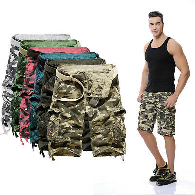 New Mens Military Lightweight Combat Cargo Shorts Camouflage Army Work Trousers • 14.99£
