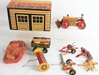 AU395.51 • Buy 1941 Marx Mechanical Farm Tractor Set With Shed And Implements