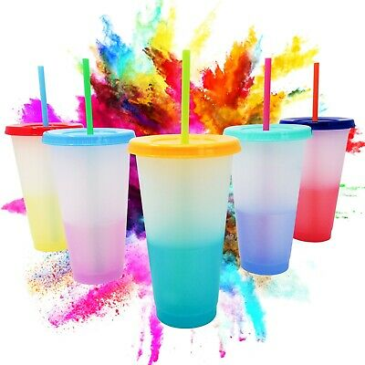 Reusable Colour Changing Plastic Cups With Lids And Straws Set Of 5 (Mix) • 15.97£