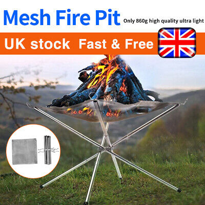 £16.99 • Buy Portable Fire Pit Folding Bonfire Stand For Outdoor BBQ Camping Patio + 2X Mesh