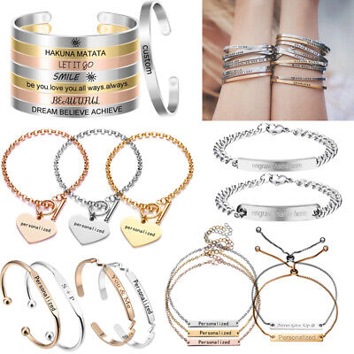 £2.96 • Buy Personalized Stainless Steel Custom Letter Name Engraved Bracelet Cuff Gifts Lot