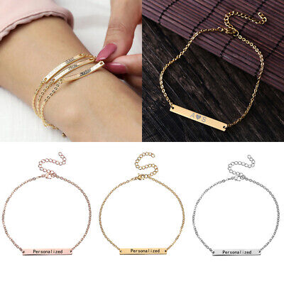 £2.76 • Buy Personalized Stainless Steel Custom Letter Name Engraved Bracelet Chain Gifts