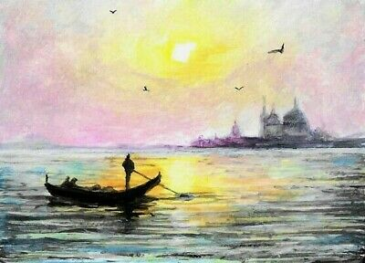 £12.78 • Buy ACEO Venice Boats Canal  Italy Landscape Original Painting Art