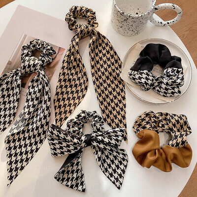 $ CDN1.84 • Buy Women Houndstooth Streamer Hair Rope Charm Bow Ribbon Ponytail Hair Accessories