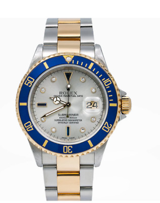 $ CDN16939.31 • Buy Rolex Submariner Date Watch 16613 40mm Silver Serti Dial With Two Tone Bracelet