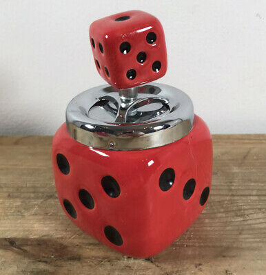 £4.95 • Buy Retro Die Dice Spinning Top Ashtray (red)