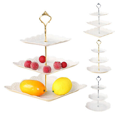 Cake Stand Afternoon Tea Wedding Plates Party Tableware Embossed Tray • 6.99£