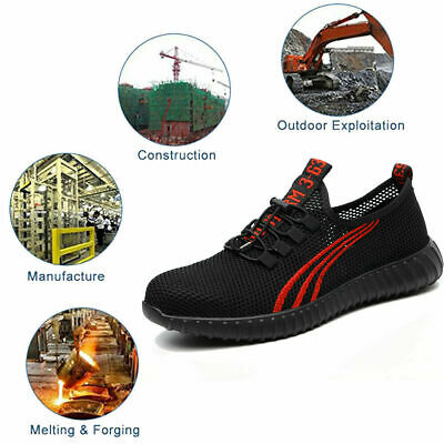 AU45.69 • Buy Mens Mesh Lightweight Safety Shoes Breathable Steel Toe Cap Work Trainers Boots