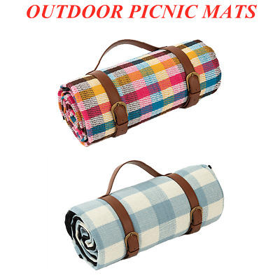 Outdoor Picnic Blanket With Strap Camp Picnic Mat Handle Dampproof Travel Rugs • 16.99£