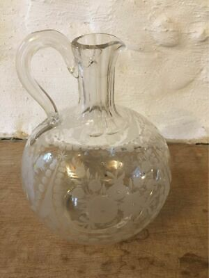 £15 • Buy Antique Clear Cut Glass Jug Carafe With Floral Design