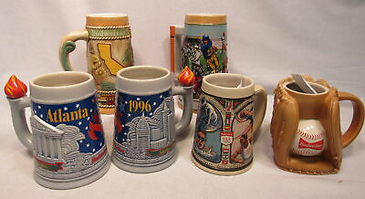 $ CDN96.71 • Buy Lot Of 6 Budweiser Beer Stein Olympic 1992 & 1996 Football Baseball California