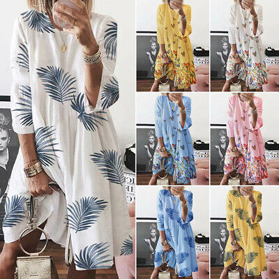 AU23.99 • Buy Womens Plus Size Bohemian Floral Midi Dress Ladies Vintage Loose Swing Dresses