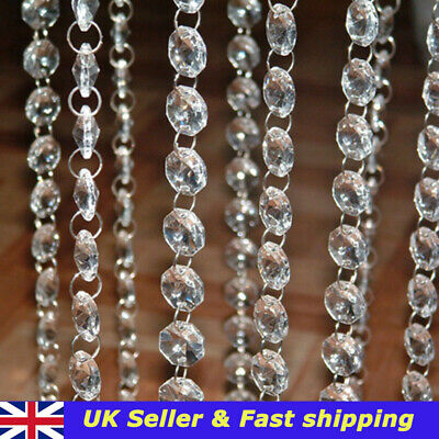 £4.34 • Buy 40 Chandelier Light Crystals Droplets Acrylic Bead Wedding Drops 14mm Two-Hole