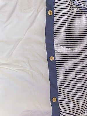 £19.99 • Buy White W Blue Stripes & Buttons Single Bed Quilt Cover W Matching Pilow Case