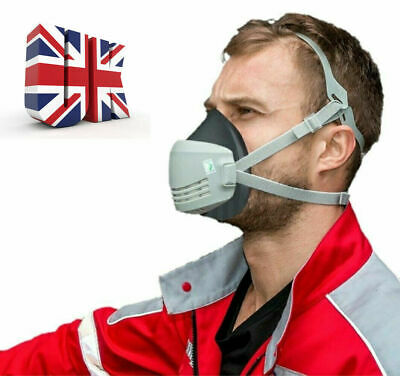 £9.99 • Buy Reusable Half Face Safety Dust Mask Respirator With Replaceable Filters