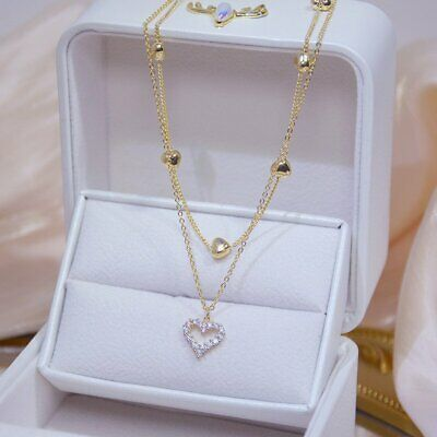 $1.70 • Buy 14k Gold Double Layer Zircon Heart Pendant Necklace Women Clavicle Chain Gifts