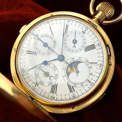 £6033.72 • Buy Repeater Moon Phase Triple-Date Chronograph Pocket Watch Antique Gold Rare Vinta