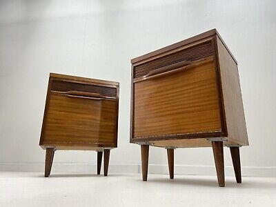 £495 • Buy Stunning Pair White & Newton Retro Bedside Tables Vintage Mid Century Cabinets
