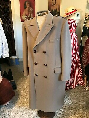 $850 • Buy VTG Double Breasted BURBERRYS Long Pea Coat Wool CROMBIE Fabric/Scotland 46R