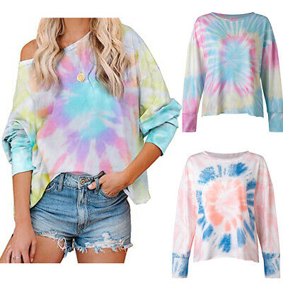 £11.49 • Buy Women's Clothing Casual Tops Tie-dye Printed Hoodless Sweater Loose Large Size