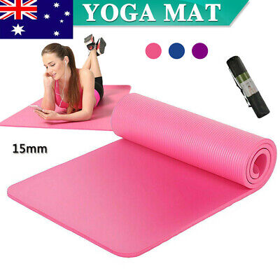 AU13.99 • Buy 15MM Thick Yoga Mat Pad NBR Nonslip Exercise Fitness Pilate Gym Durable Mesh Bag