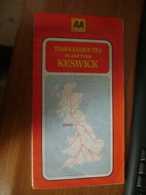 AA Automobile Association Throughroutes  MAP Keswick 1981 Lake District Cumbria • 6.75£