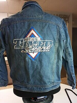 $43 • Buy  ORIG. CARROLL Wear Denim Embroidered Patch Jacket Cinch Timmer Event Champion L