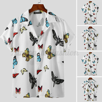$16.54 • Buy Men's Short Sleeve Butterfly Printed Shirts Casual Beach Holiday Blouse Tee Tops
