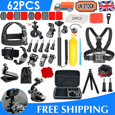 £16.99 • Buy 62-In-1 Action Camera Accessories Kit For GoPro Hero Video Mount Tripod Set UK