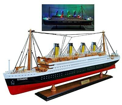 £366 • Buy Titanic Wooden Model Cruise Ship With Flashing Light 23  Decoration Living Room