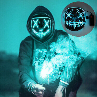 $ CDN16.70 • Buy Funny Halloween Mask Adult Cosplay LED Costume Masks Wire Light Up Carnival