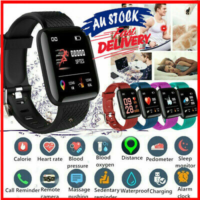 AU12.67 • Buy Smart Watch Band Heart Rate Blood Pressure Monitor Fitness Trackers Waterproof