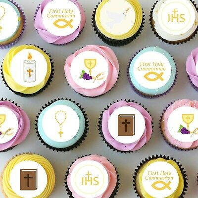 £8.66 • Buy Communion Religious Pre-cut Mini Edible Icing Cupcake Or Cookie Toppers