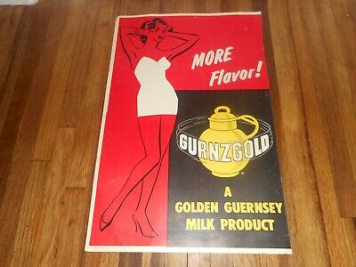 $124.95 • Buy Vintage 1960s GURNZGOLD GUERNSEY DAIRY COW MILK TRUCK Advertising Poster Sign