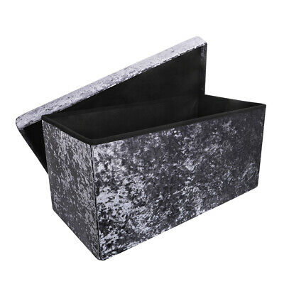 Large 2 Seater Crushed Velvet Foldable Ottoman Storage Box Double Bed Foot Stool • 20.99£