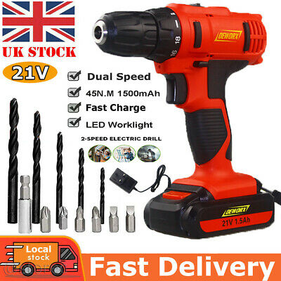 21V Cordless Drills Driver Battery Kit Rechargeable Electric Screwdriver LED Bit • 24.90£
