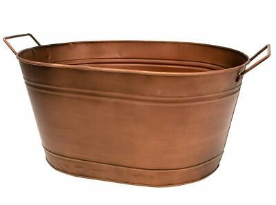 £15.99 • Buy Copper Finish Galvanised Metal Oval Flower Plant Planter Flower Pot Container