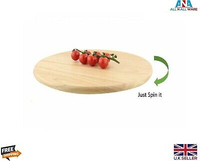 £17.59 • Buy Lazy Susan Bamboo Wood Solid Wooden Rotating Tray Serving Plate Stable Base 35cm