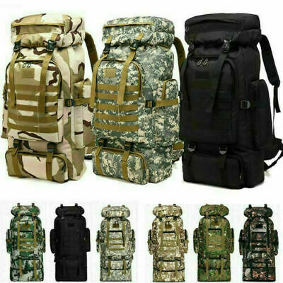 $32.99 • Buy 80L Molle Tactical Outdoor Military Rucksacks Backpack Camping Bag Travel Pouch