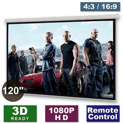 £99.99 • Buy 120  Motorised Electric Projector Screen Home Cinema HD DVD 4:3 16:9 Projection