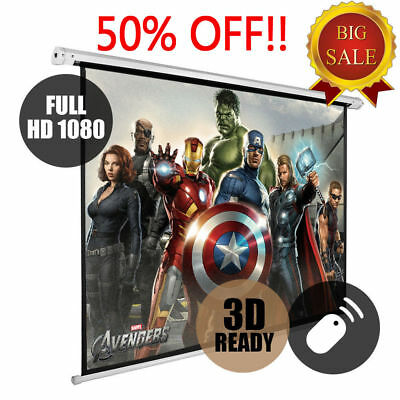 £69.99 • Buy 72  Electric Motorised Projector Screen 16:9 4:3 Projection Home Cinema 3D HD UK