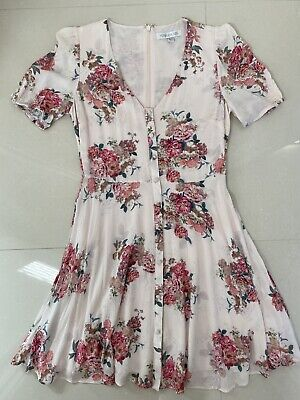 AU39 • Buy Forever New Dress Pink Floral Flare Skirt Viscose Button Up Front Size 10