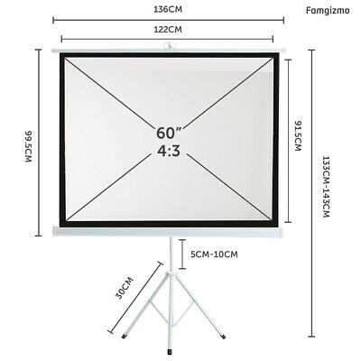 £36.99 • Buy 60  Tripod Projector Screen Matte Pull Down Projection 4:3 Home Theater DLP LCD