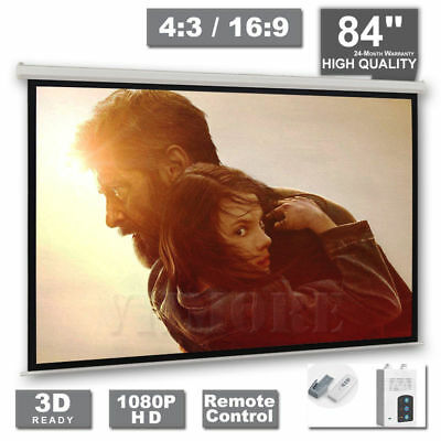 £79.99 • Buy 84  Inch Electric Motorised Projector Screen 4:3 16:9 Home Cinema 3D Projection