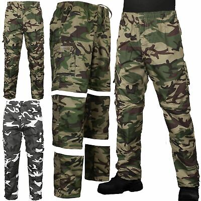 Mens 3 In 1 Camouflage Trousers Zip Off Shorts Combat Cargo Army Work Pant S-2xl • 9.99£