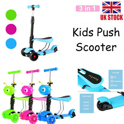 £15.99 • Buy 3 In 1 Kids Kick Scooter Child Toddler 3 Wheel Adjustable Push Scooter Kids Gift