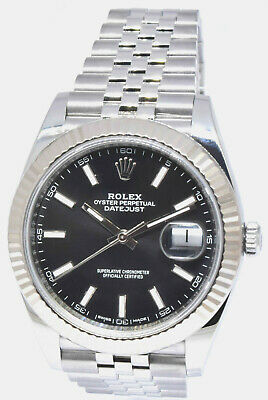 $ CDN13119.82 • Buy Rolex Datejust 41 Steel & 18k White Gold Black Dial Fluted Watch & Box 126334