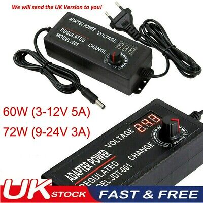 £9.99 • Buy Adjustable Electrical AC/DC 3V-24V Power Supply Adapter Charger Voltage Variable