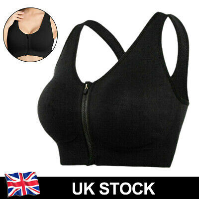 £6.89 • Buy Sports Bra Front Zip Padded Women Wireless Yoga Cami Push Up Vest Support Top